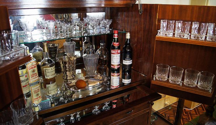 classic small liquor cabinet